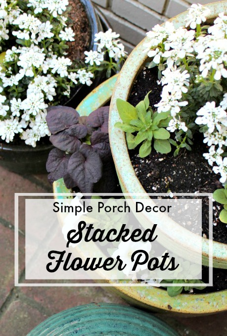 stacked flower pots porch
