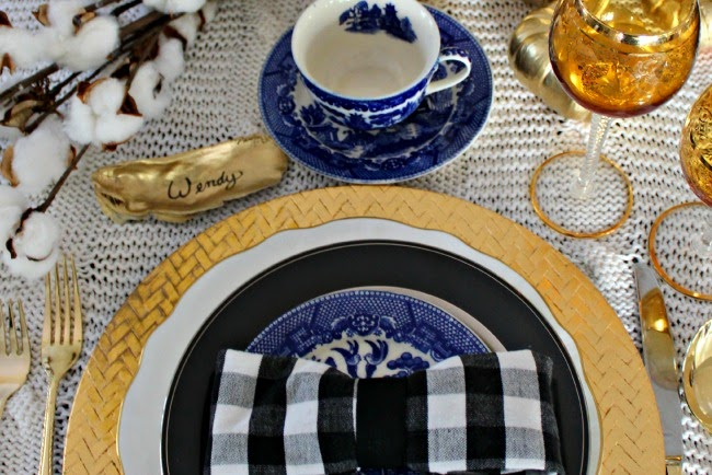Southern Coastal Table Setting, Oysters Cotton Stalks