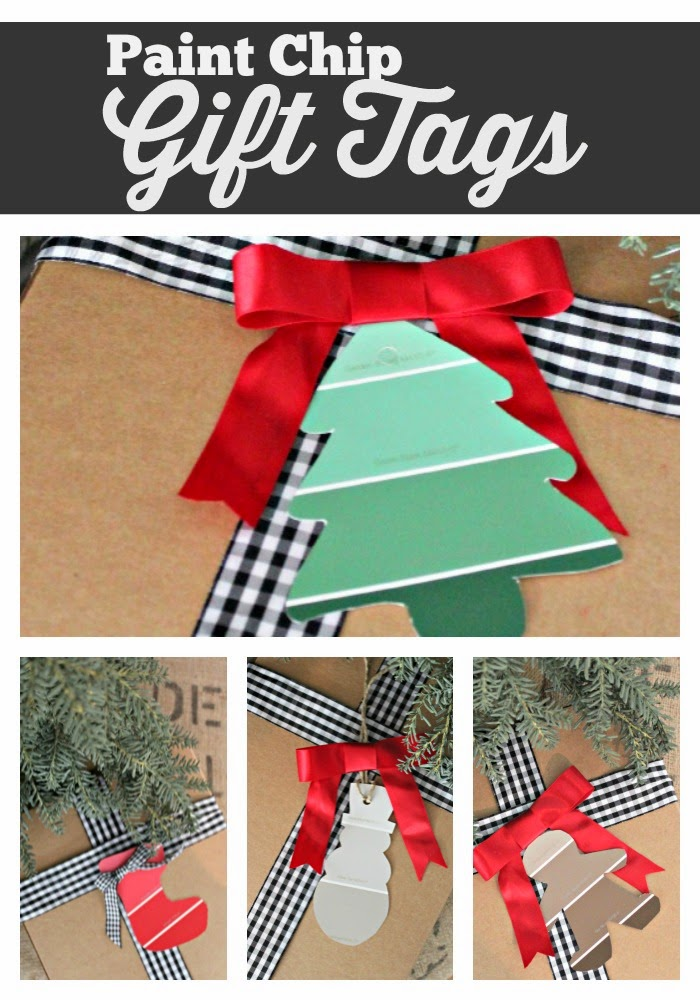 paint chip christmas gift tags