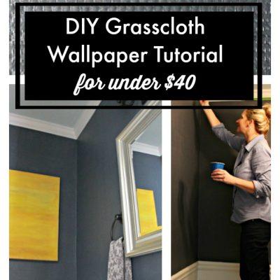 DIY Navy Grasscloth Wallpaper Tutorial (for under $40)