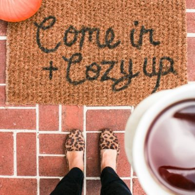 DIY Fall Welcome Mat Tutorial- Come In + Cozy Up
