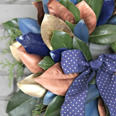 {DIY Metallic and Blue} Magnolia Leaf Wreath Tutorial