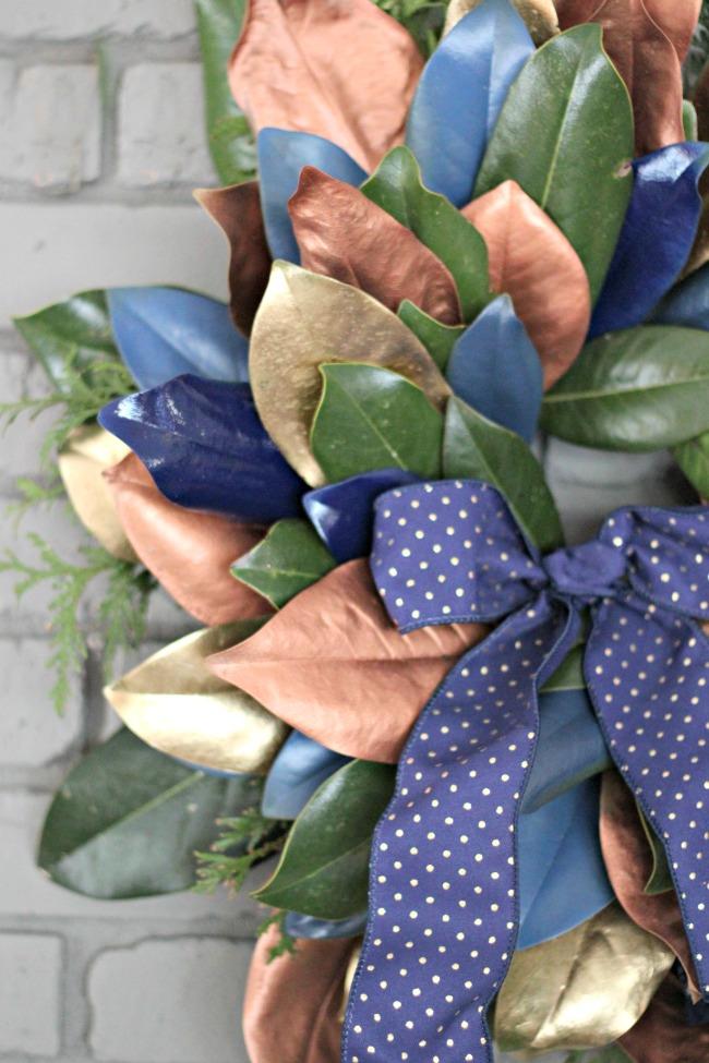 diy-metallic-magnolia-wreath