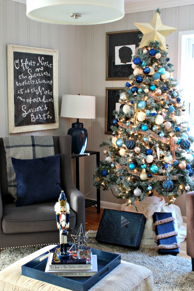 Decorations Of Blue On White Christmas Tree Southern