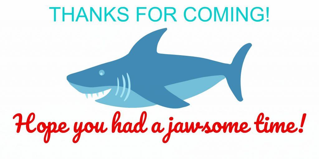 shark birthday party goodie bag tag
